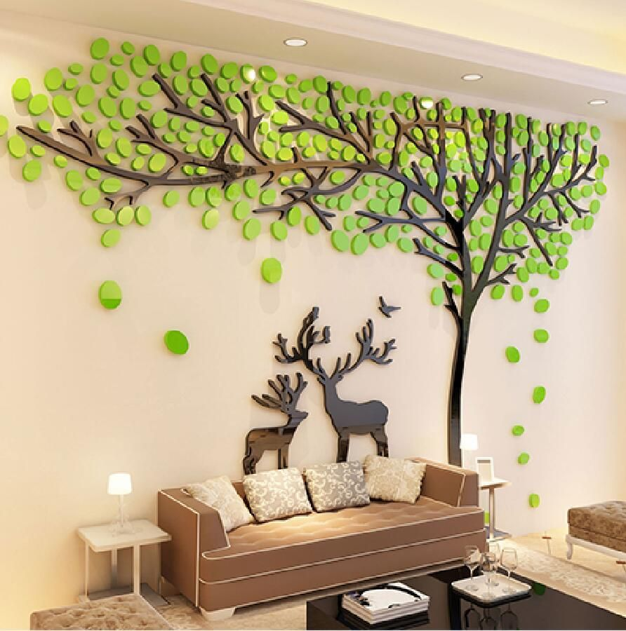2017 Elk Trees 3d Stereo Wall Stickers Living Room Sof