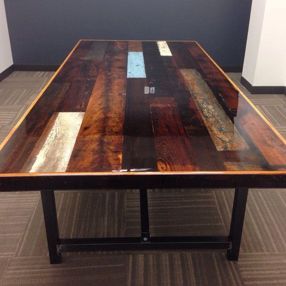 Industrial Reclaimed Wood Conference Table Resin Finish Barnwood - Old conference table