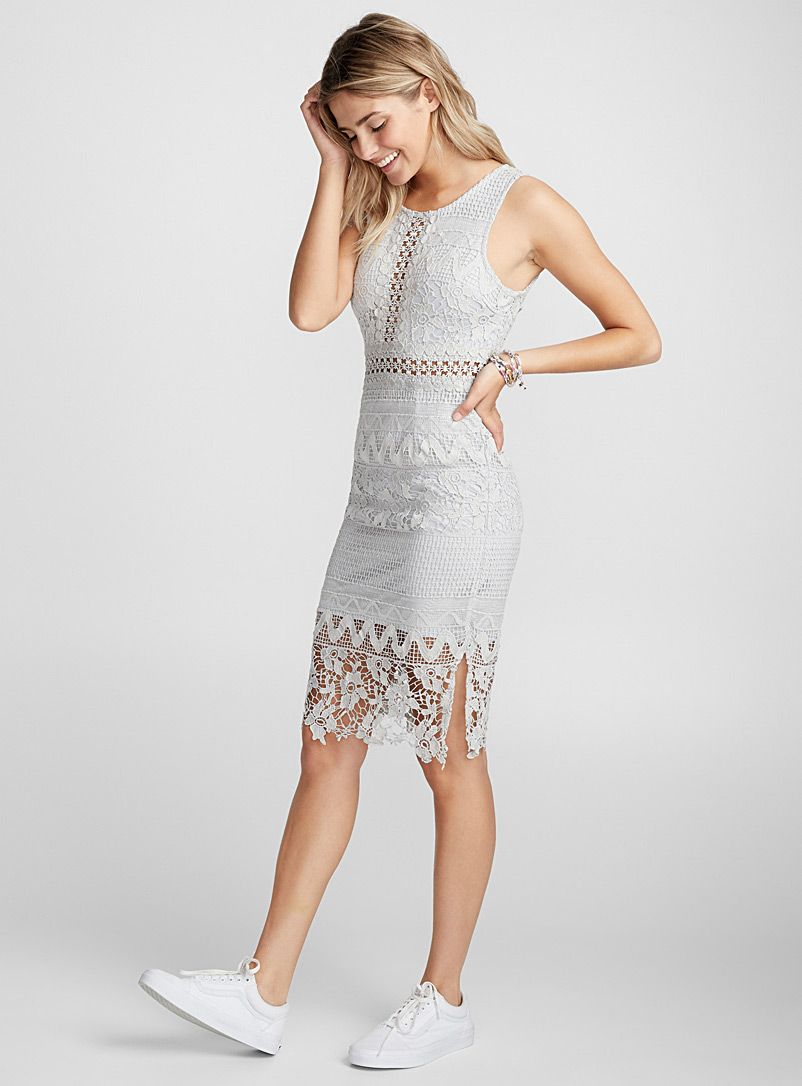 Lace dress gray  La robe dentelle grisbleu  Twik  Magasinez des Robes Genou
