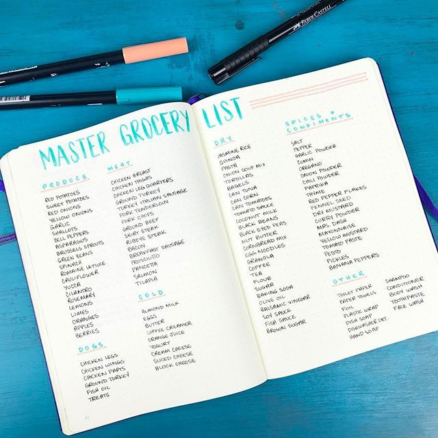 Just finished up a master grocery list for my Bullet Journal By no - master grocery list