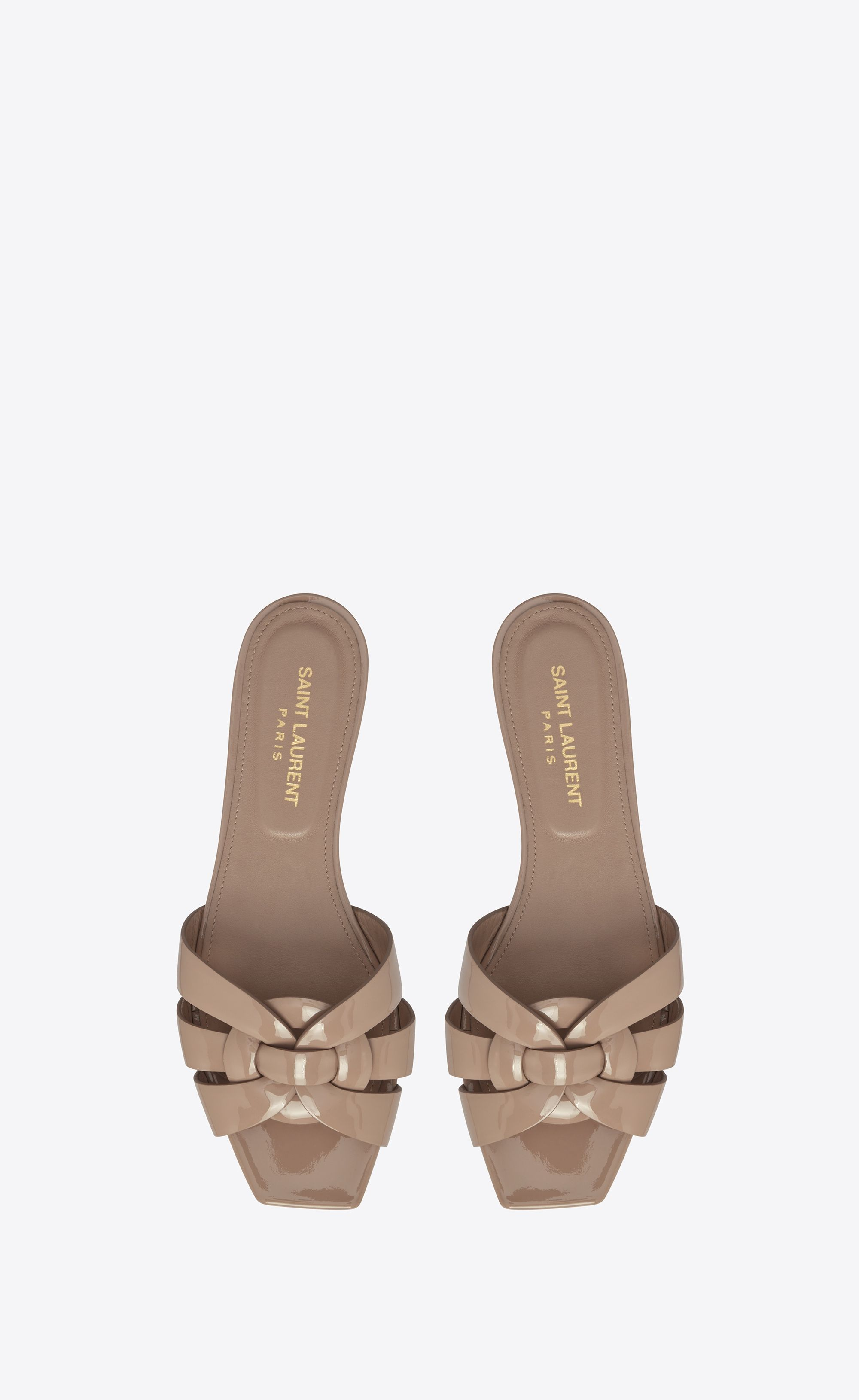 87f58683c23 Saint Laurent Nu Pieds 05 Sandal Tribute In Beige Rosé Patent Leather