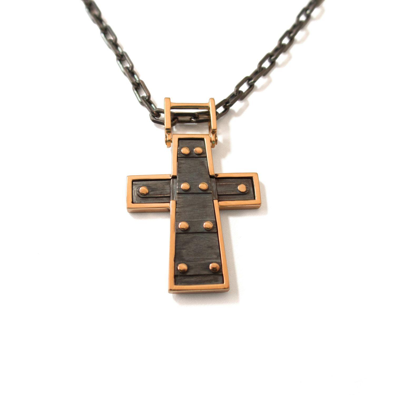 Cross Pendant 18K Rose Gold Pendant 18K Gold Necklace Mens