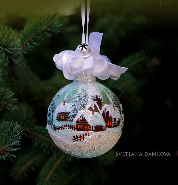 Items similar to Christmas Ornament Hand Painted on Etsy Ball