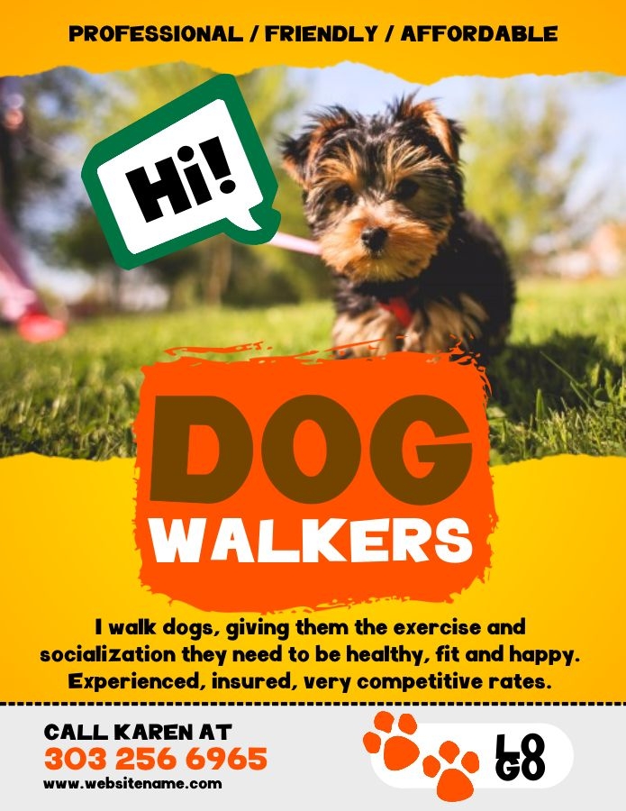 Dog Walker Advertisement Flyer Design Social Media Template Dog