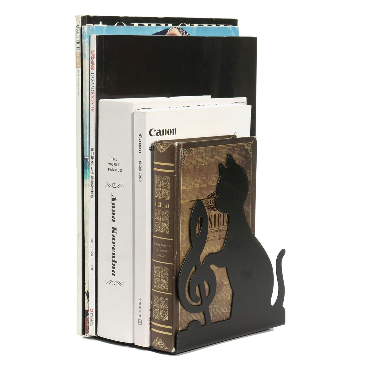 1 Pair High Quality Desk Accessories Organizer Black Cat Playing Metal Book End Bookend Holder Bookstand