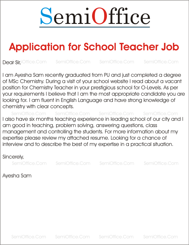 Application For School Teacher Job  SemiofficeCom