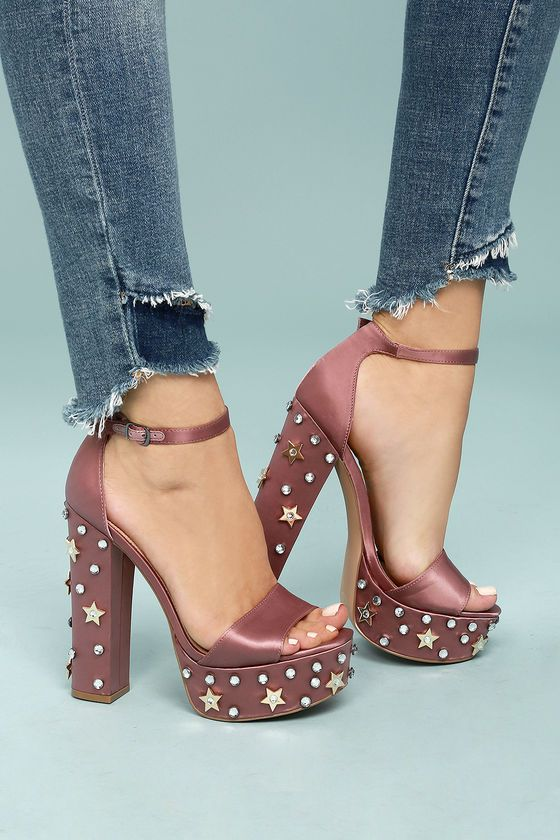 8213066e3 ... the Steve Madden Glory Dusty Rose Satin Studded Platform Heels! These  stunners have a satin-covered peep-toe upper with matching adjustable ankle  strap ...