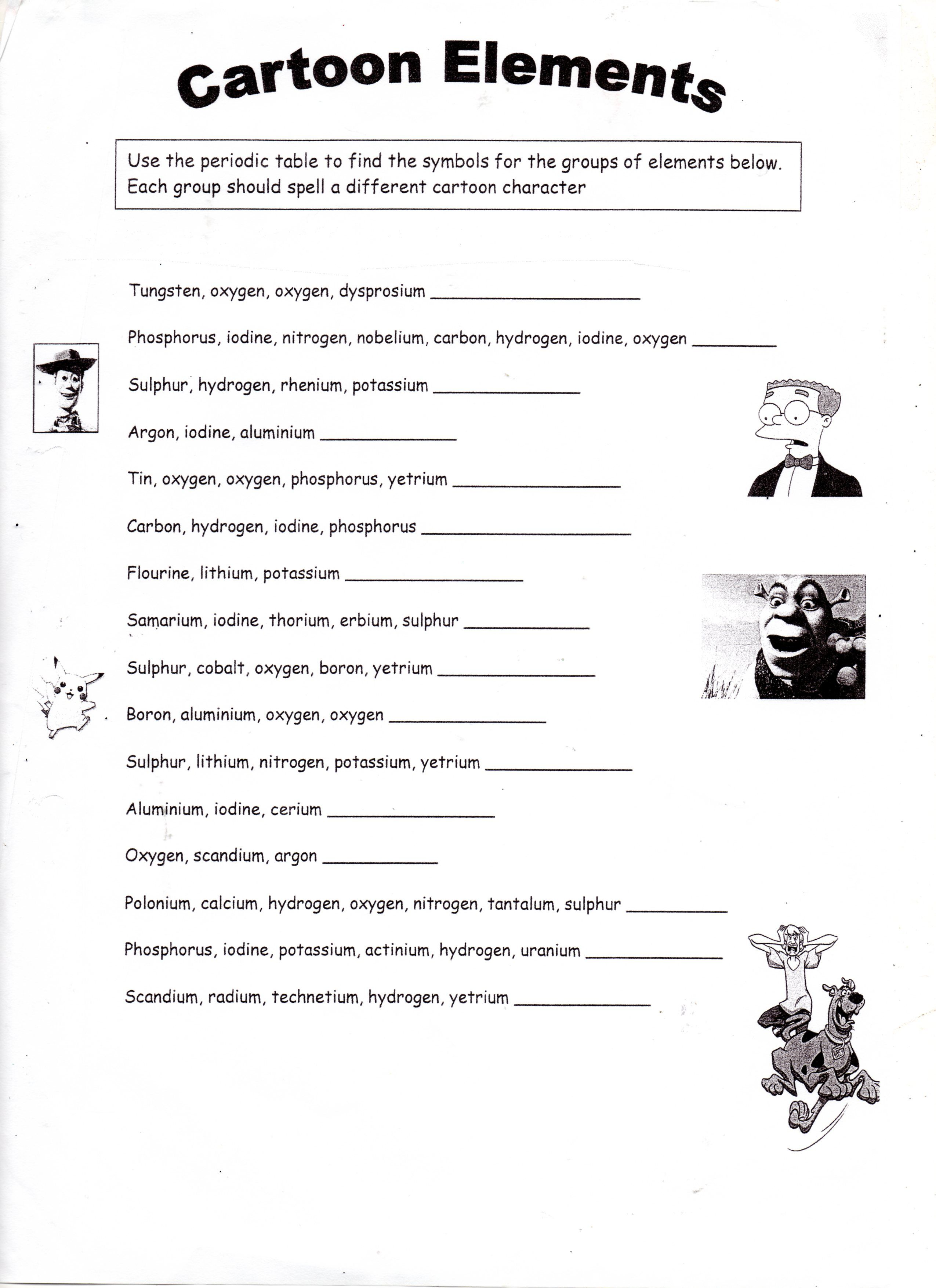 Periodic Table Reading Comprehension Worksheet