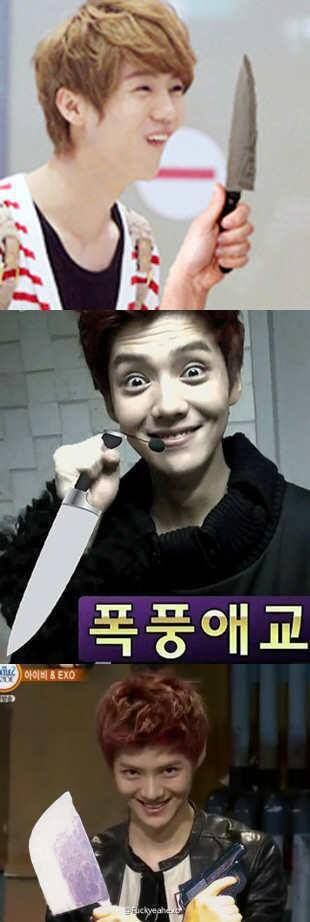I Think Luhan Has A Thing For Knives Is It Bad That I Really Like That Exo Funny Moments Exo Funny Luhan