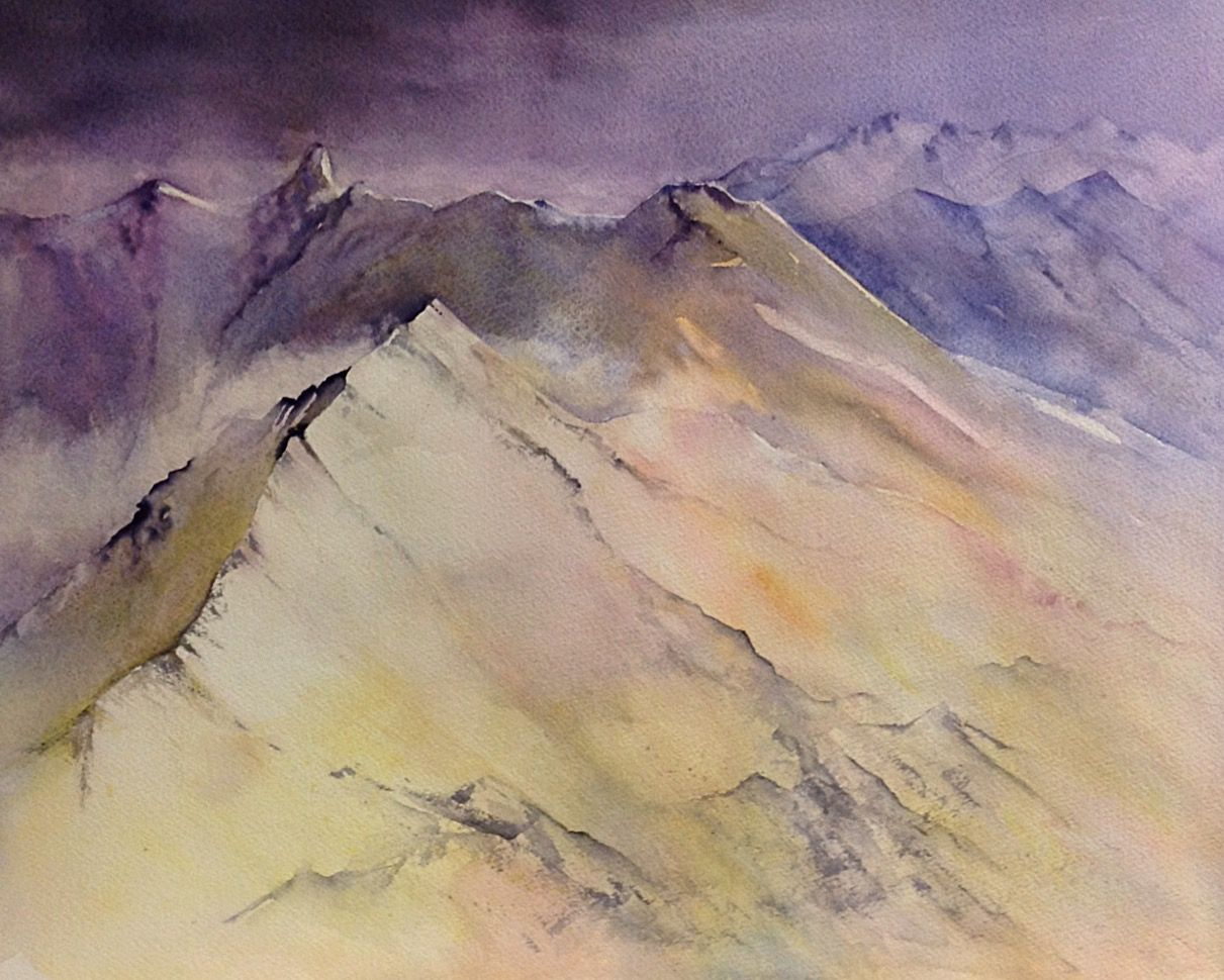 Wonderful colours in this watercolour mountain scene by Judith Jerams