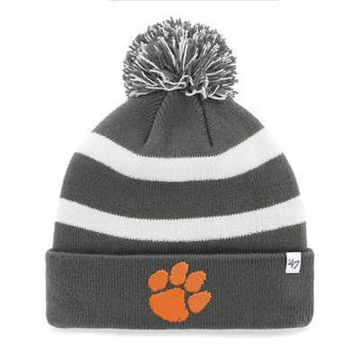 new concept c8fec decf7 Men s  47 Charcoal Clemson Tigers 2016 College Football Playoffs Orange  Bowl Bound Breakaway Cuffed Knit Hat with Pom