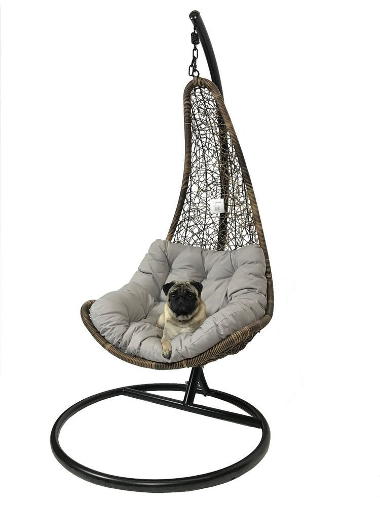 Details About Rattan Swing Seat Hammock Hanging Chair Grey