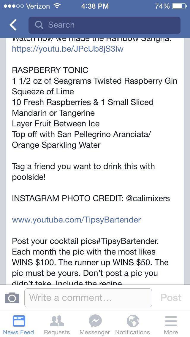 Raspberry Tonic. Tipsy Bartender