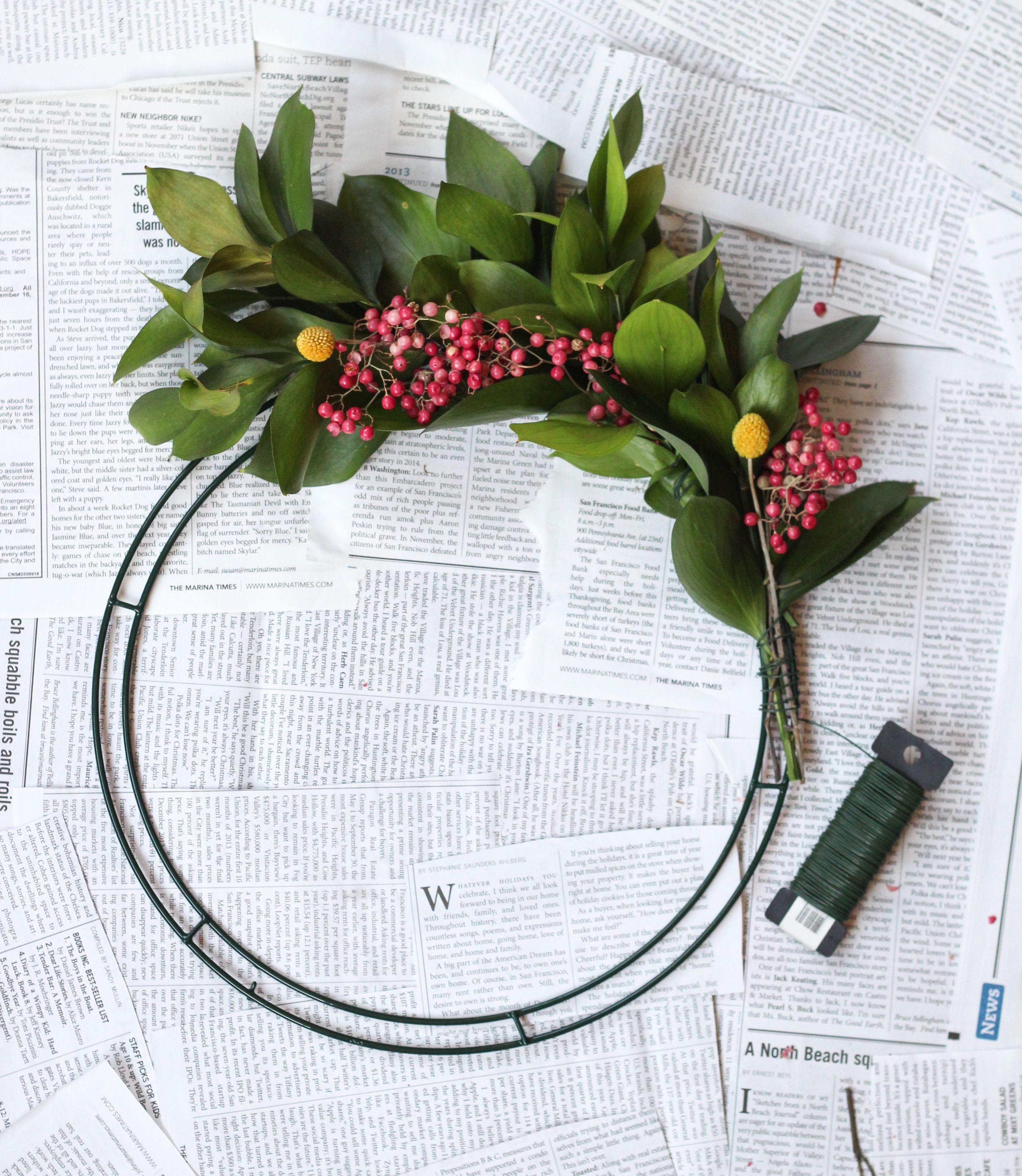 DIY Pom Pom Wreath Pom pom wreath, Wire wreath frame