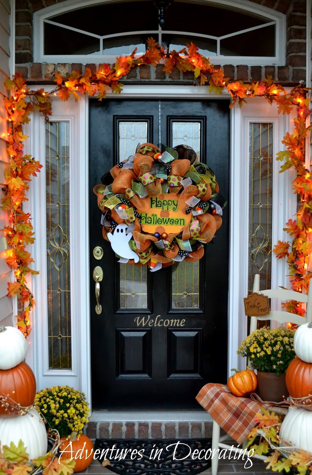 Adventures in Decorating Our Fall Front Porch fall Pinterest - Front Door Halloween Decoration Ideas