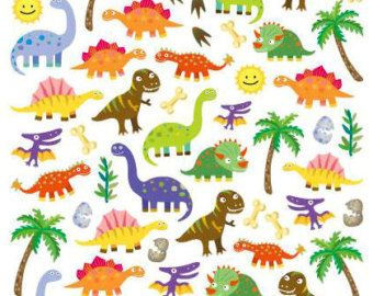 Trendy Dinosaur Sticker Sheets with Colorful Fun Dinosaurs and Action Words 24 Sheet Set