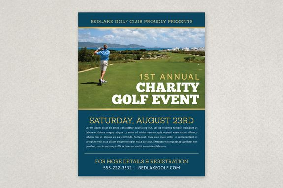 Charity Golf Event Flyer Template  The Organized Clean Layout Is