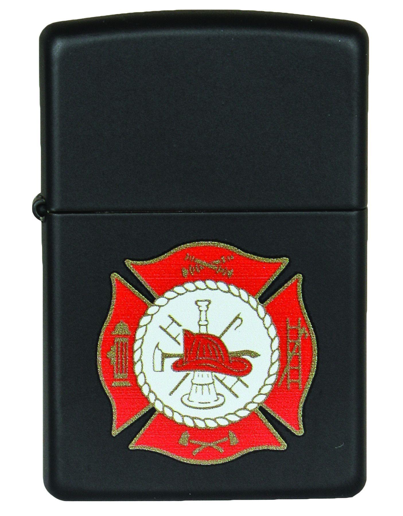 Zippo Firefighter Symbol Black Matte Zippo Lighter Zippo Firefighter Symbol