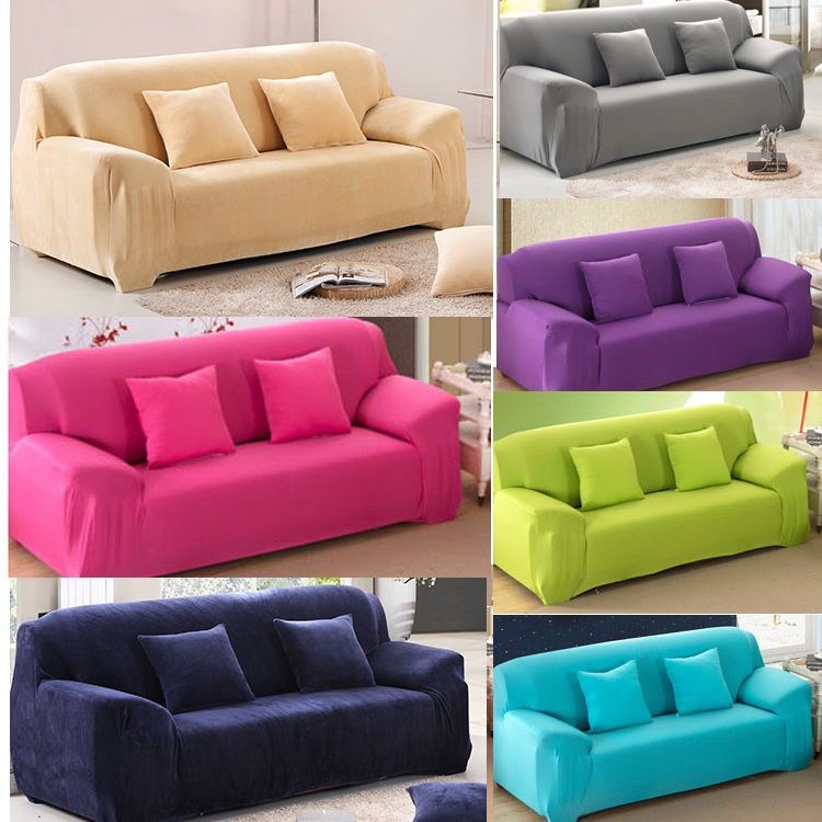 Pure Color Removable Elastic Sofa Slipcover Lounge Couch Cover For 1 ...