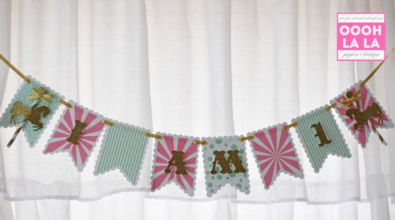 Glitter Carousel High Chair Banner by ooohlalapaperie on Etsy, $17.50