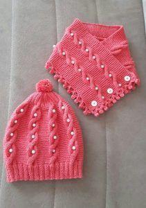 Photo of Cómo tejer boina y collar de cuello para niños con decoración de perlas y gir…