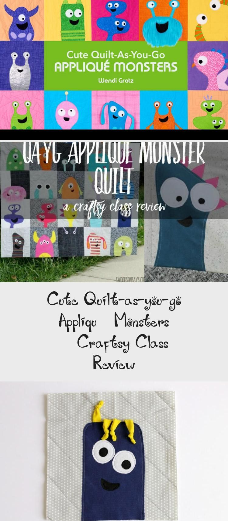 Cute QuiltAsYouGo Appliqué Monsters  easy quilt for beginners to sew from fabric scraps Video quilt class  pattern to make this fun quilt for kids