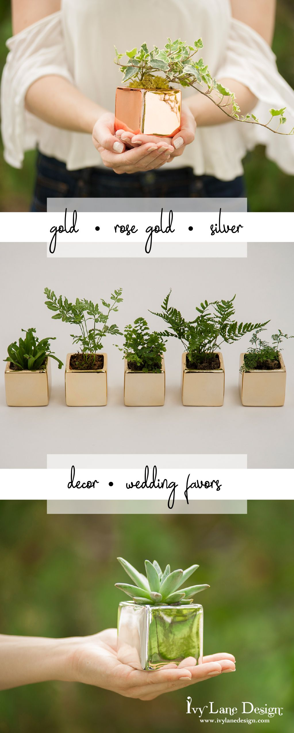 A92242 mini metallic flower pots in rose gold, gold and silver. From ...