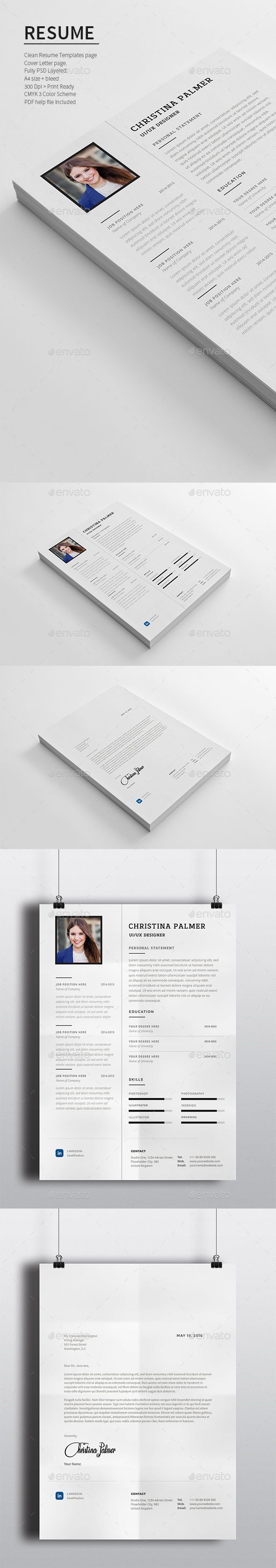 Resume — Photoshop PSD #stylish cv template #ms word • Available ...