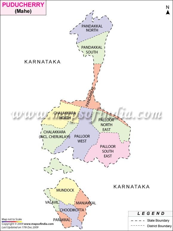 ADMINISTRATIVE MAP OF MAHE POCKET PONDICHERRY India Maps