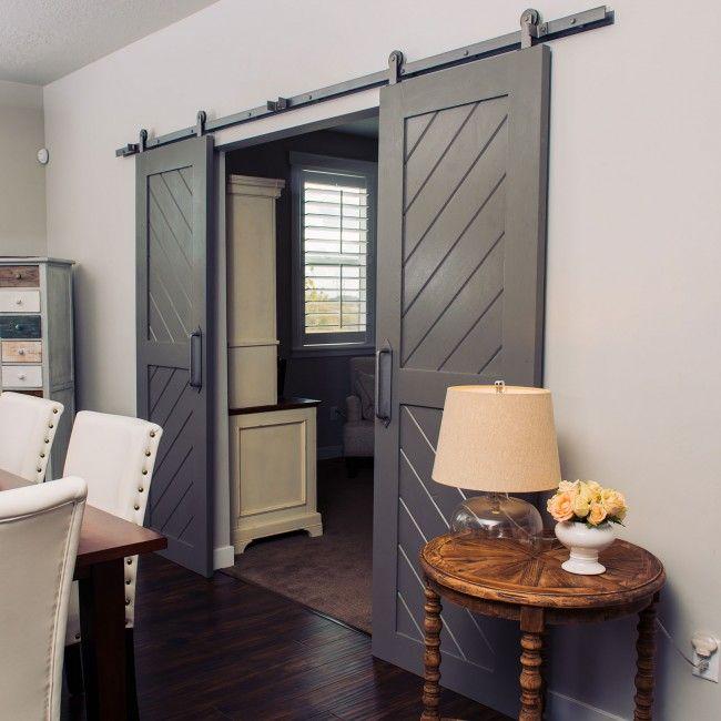 Transitional 2 Panel Sliding Barn Door Room Divider Room Divider Doors Modern Room Divider