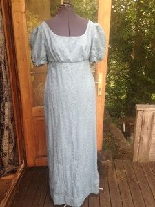 "Womens Blue Regency Dress.  Cotton Broderie Anglais.  Approximate Sizes:  Bust: 38""  Under Bust: 34""  Under Bust - Floor: 47"".  These are Approximate sizes."