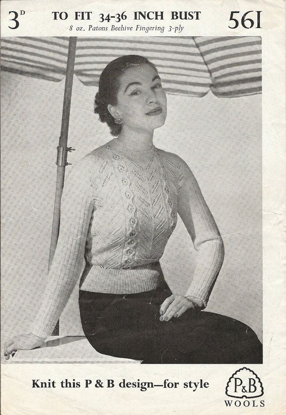 Vintage Knitting Pattern 1950s Ladies Jumper Sweater 3 Ply 34