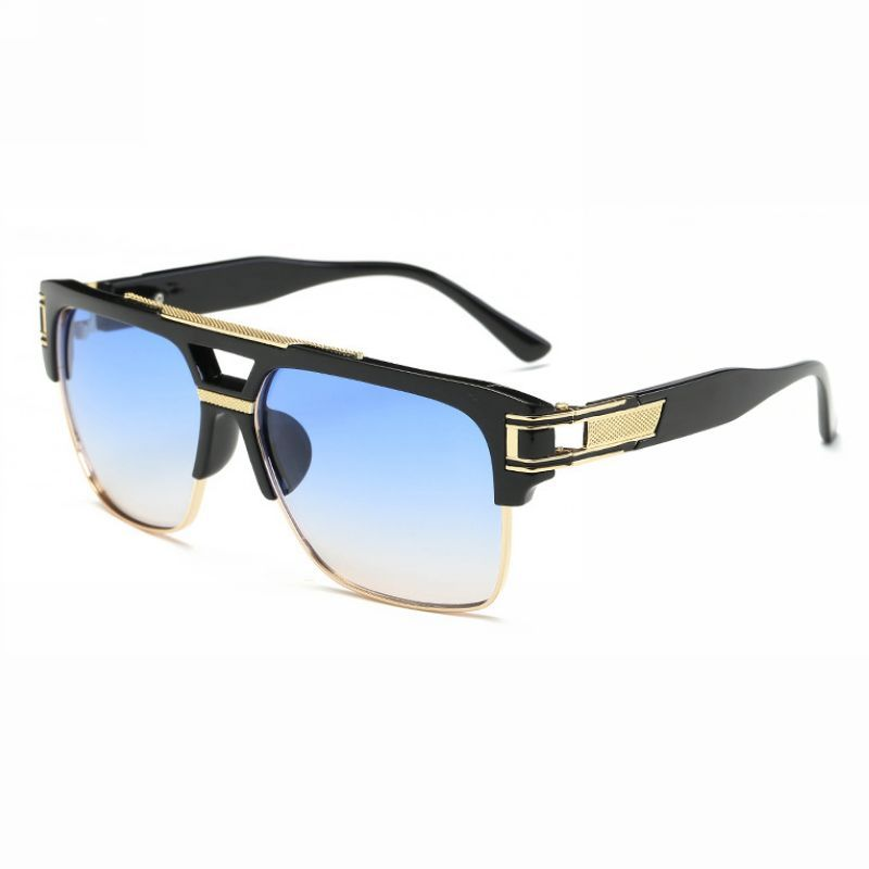 7b200c1c7eae Retro Rectangle Pilot Sunglasses Black Gold Frame Blue Gradient Lens ...