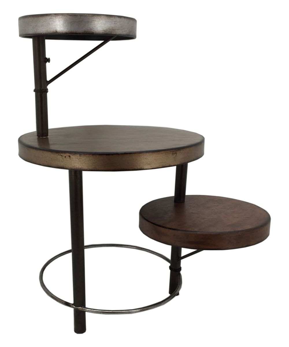 Brown Tri Level Metal Accent Table