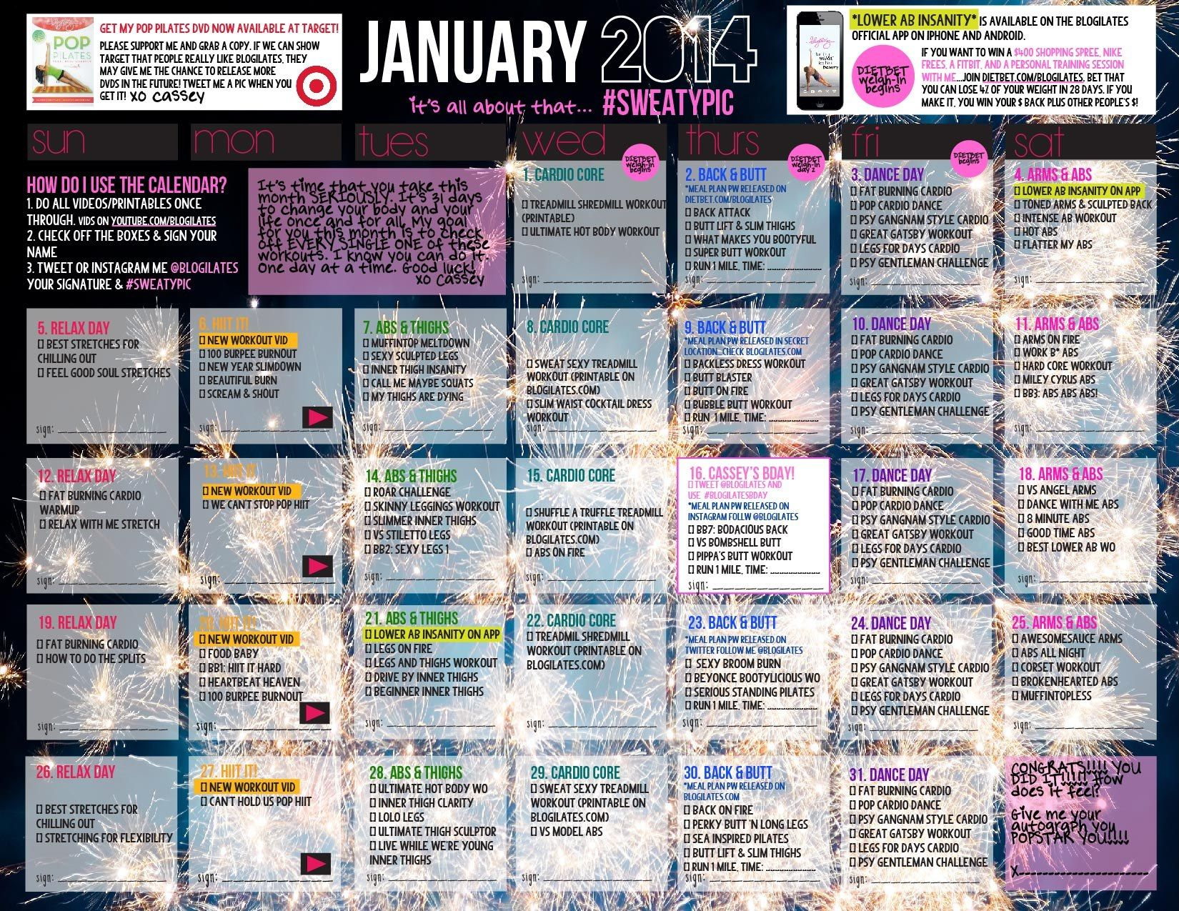 Ilates Monthly Calendar Results : Your official january workout calendar is here