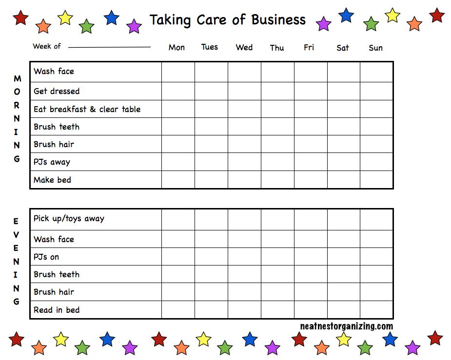 printable kids morning checklist