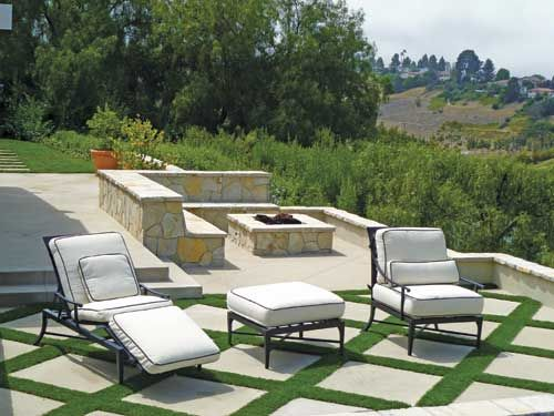 Love This! The Pavers Were Poured In Place And The Spaces Filled With  Artificial Grass