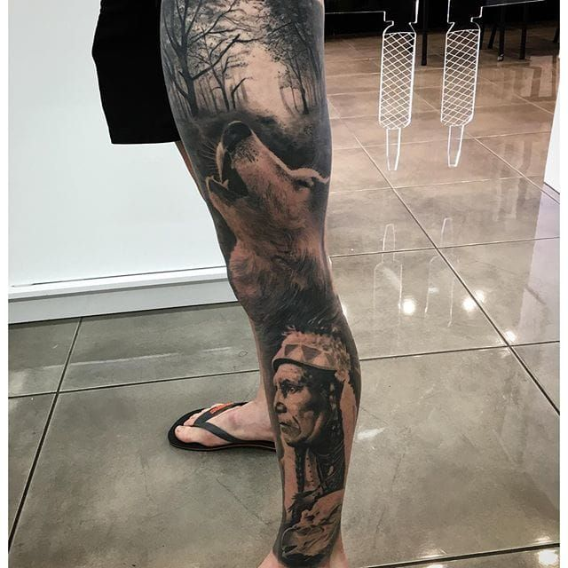 813dbd38b Native american leg sleeve DrewApicture | Body Modification ...