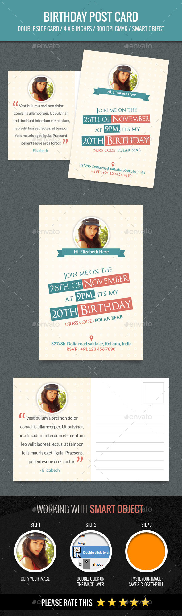 birthday postcard template design download http graphicriver net