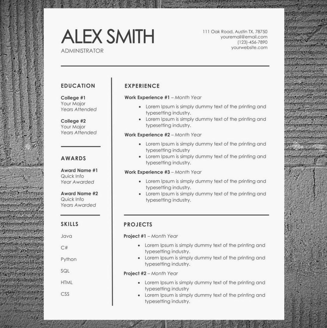Minimal ResumeCv Template  Modern Resume And Cover Letter  Word