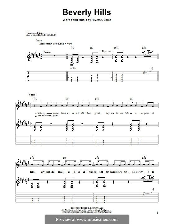 Beverly Hills (Weezer): For guitar with tab by Rivers Cuomo   Music ...