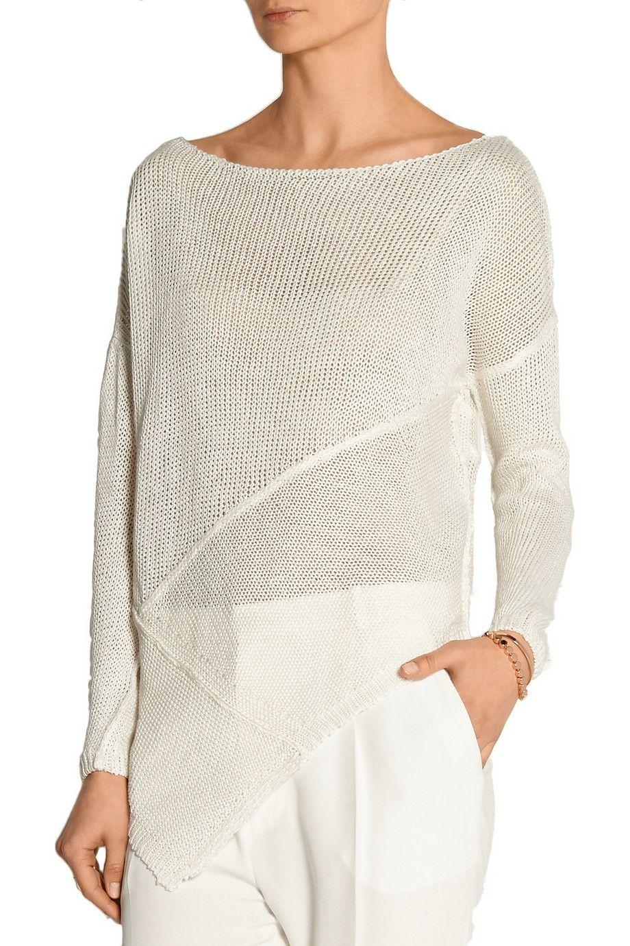 Donna Karan New YorkOpen-knit linen sweaterfront | Fashion ...