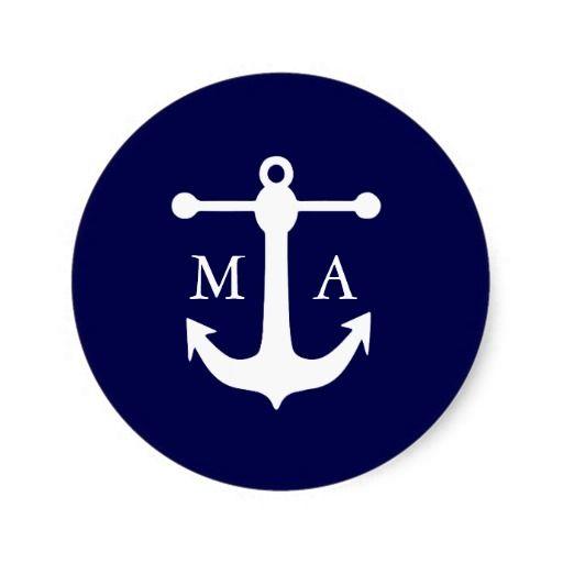 Nautical Navy Monogram Stickers Round Stickers