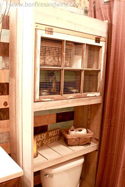 bonfires and wine bathroom over toilet shelf rooms laundry mud bath rooms pinterest. Black Bedroom Furniture Sets. Home Design Ideas