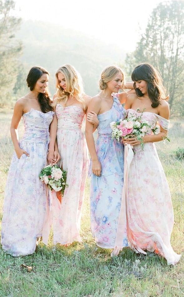Floral Dresses For Bridesmaids Floral Bridesmaid Dresses Pastel Bridesmaid Dresses Printed Bridesmaid Dresses