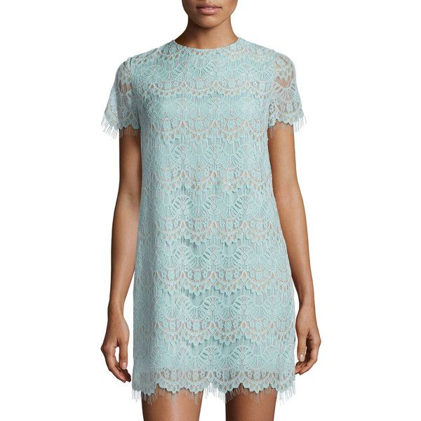Cynthia Steffe Marley Short-Sleeve Scalloped Lace Shift Dress ($89) ❤ liked on Polyvore featuring dresses, blue, blue mini dress, short sleeve shift dress, lace shift dress, short lace dress and blue short sleeve dress