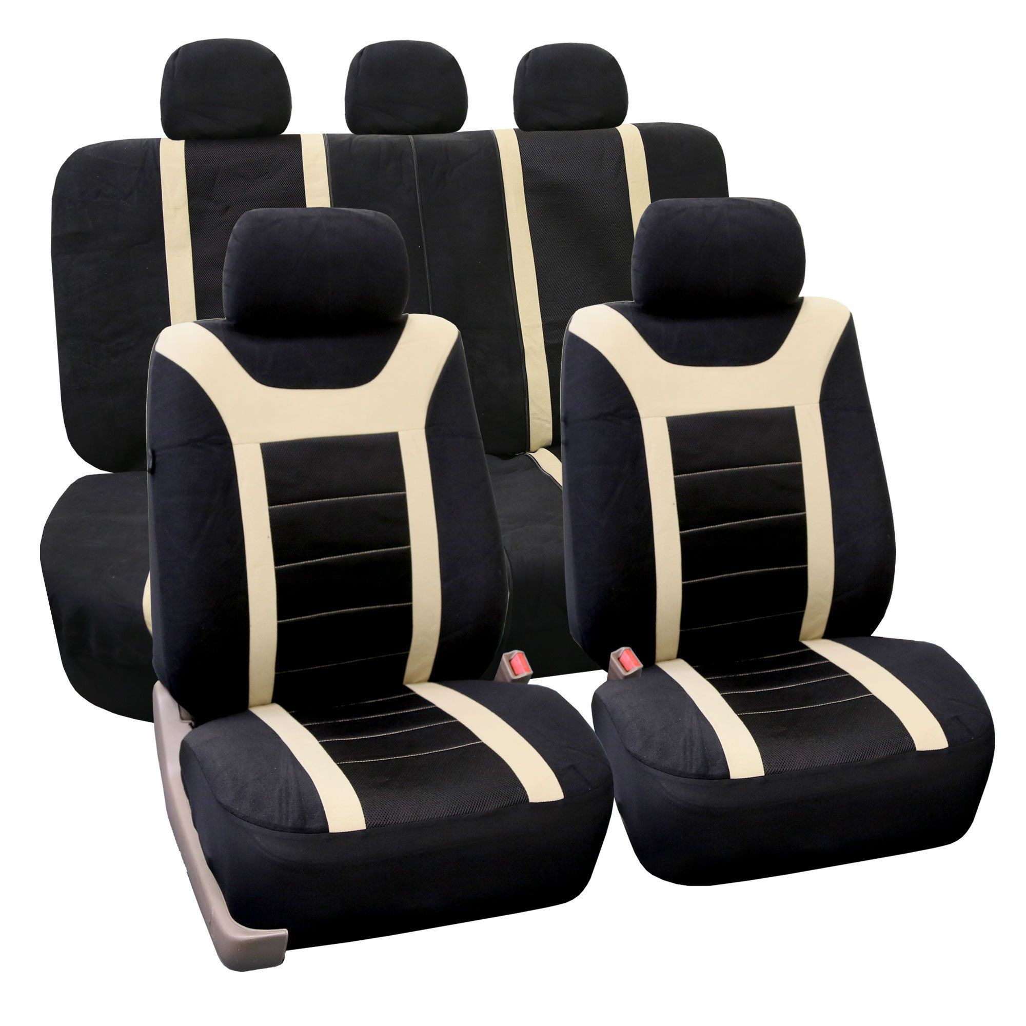 FH Group Sports Seat Covers Airbag Compatible And Rear Split Full Set Grey In Accessories