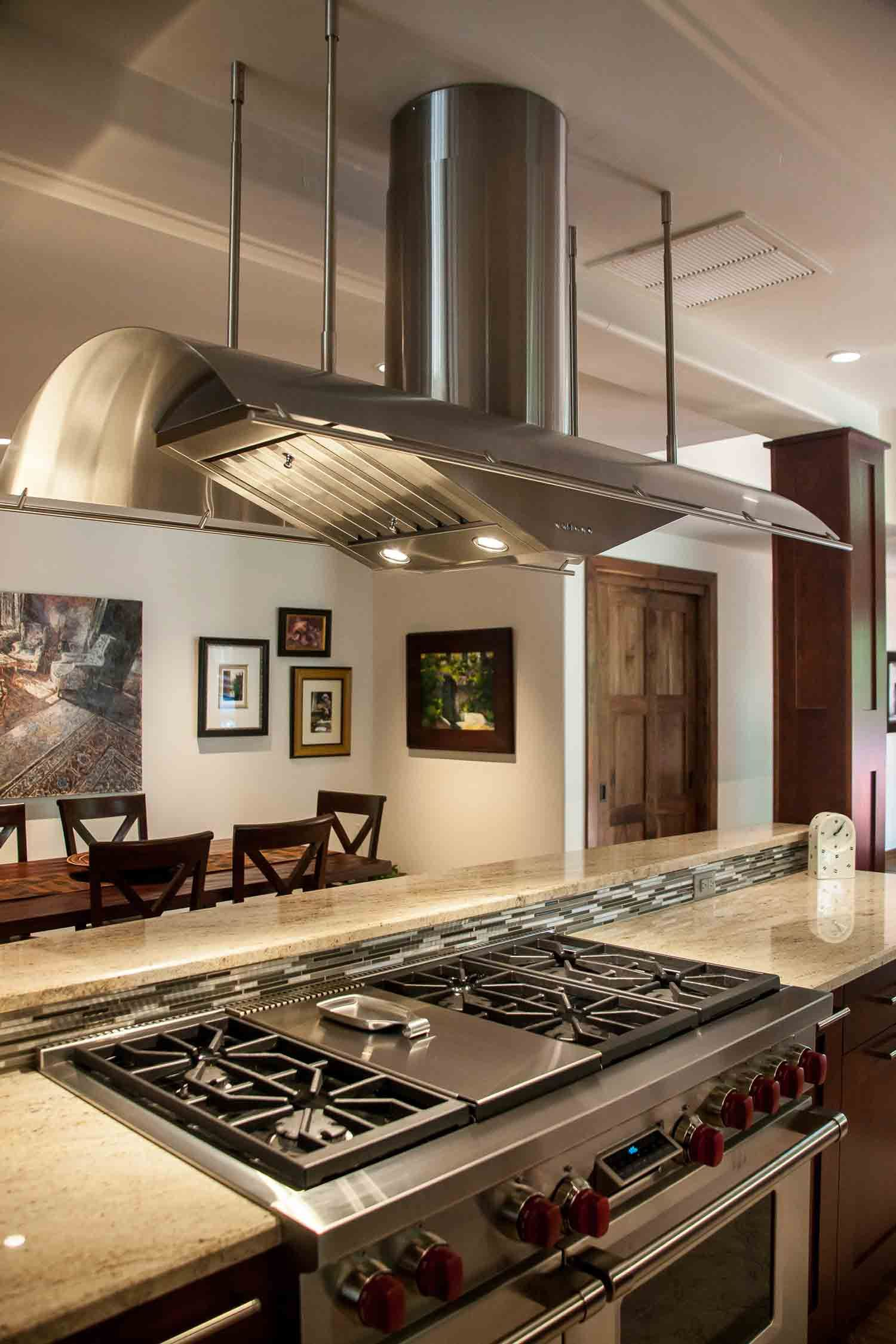 Gorgeous Stainless Steel Stove Hood Over Center Island 6