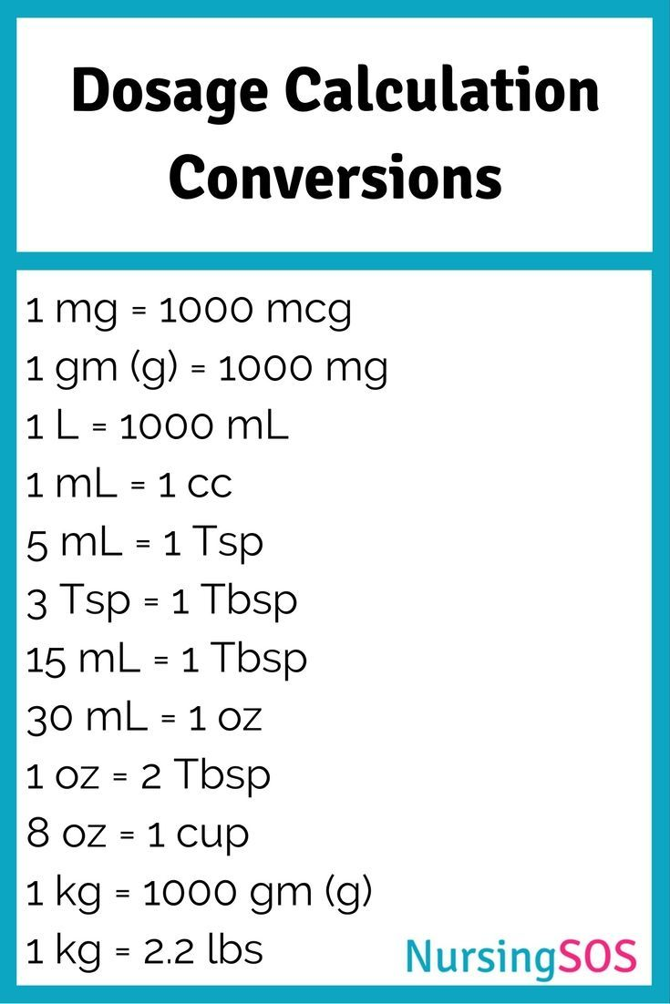 dosage calculation conversions you need to know in nursing school  click through to get this