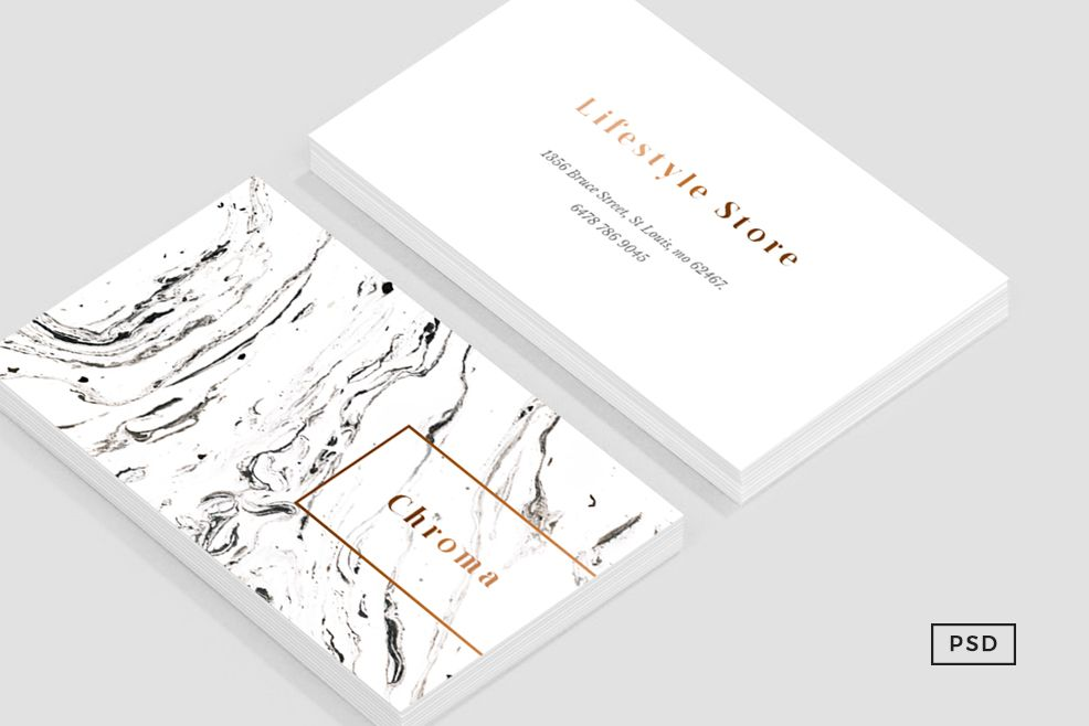 White Marble + Copper Business Card | Pinterest | White marble ...